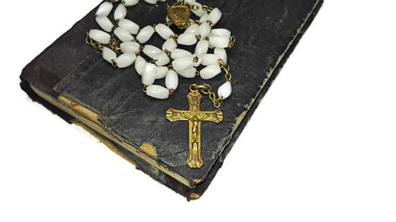Vintage French Lourdes Rosary, 5 Decade French Rosary with copper cross