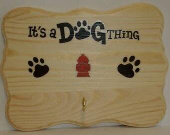 DOG LEASH HOLDER - One Of A Kind - Original Design - Dog Leash Hanger - Dog Wood Sign