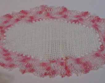 Vintage Pink and White Oval Cotton Crocheted Doily - Clean and no holes/tears/ or stains