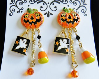 Never Worn/ Lunch At The Ritz Halloween Jack-O-Lantern Ghost Post Earrings