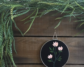 Hand Embroidered Medium Florals Wall Art 1 // modern embroidery // flowers // florals // blush pink // contemporary // bloom // gallery wall