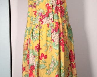 Vtg Clovis Ruffin Boutique Fruit Print Button Front Dress M