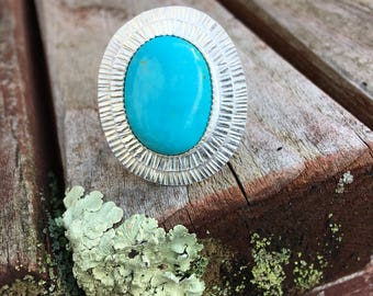 Sterling Silver and King's Manassa Turquoise ring Hand Stamped size 8