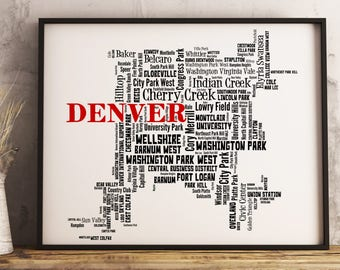 Denver Map Art, Denver Art Print, Denver Neighborhood Map, Denver Typography Art, Denver Wall Decor, Denver Moving Gift