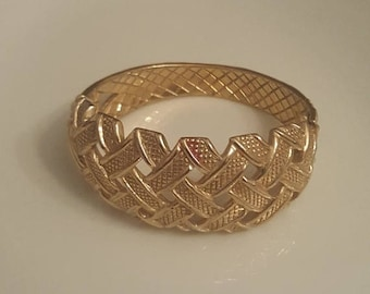 Sale clamper bracelet, castlecliff,  goldtone, basketweave, signed, vintage, costume jewelry, gold, hinged bracelet