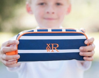 Monogrammed Pencil Pouch -Personalized Pencil Pouch-Striped Pencil Pouch-LineUp Pencil Pouch-Boy's Pencil Pouch-Orange Pencil Pouch-Line Up