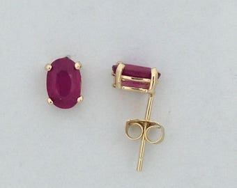 Natural Ruby Stud Earrings Solid 14kt Yellow Gold