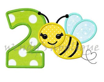 Bumble bee birthday number 2 machine embroidery applique design instant download