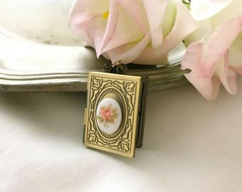 Long Locket necklace photo shape gold antique book