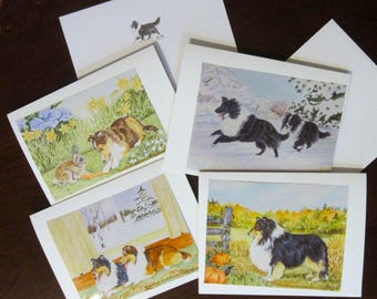 "4 assorted Sheltie Greeting Cards with envelopes and Sheltie notepaper,  5 1/2"" x 4 1/4"" Heather Anderson , canine artist, free shipping"