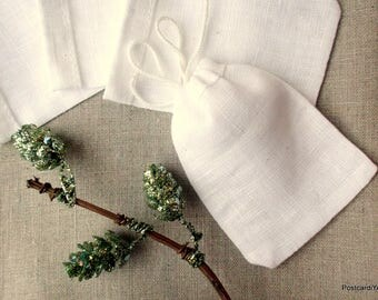 40 Snow White Linen Pouches Earring Gift Pouches Rings Jewelry Pouches 2.5 x 3.5 inches