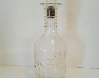 """Vintage 1964 Owens Illinois Clear Glass Liquor Decanter Bottle Stopper 11 1/2"""""""
