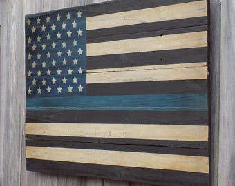 Rustic Thin Blue Line Flag, 20 X 30 inches. Made from recycled fencing. Free Shipping