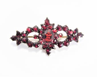 Antique Bohemian Garnet Brooch Vintage Estate Jewelry