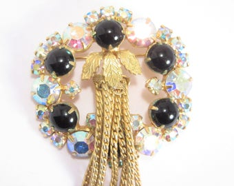 Confirmed Juliana Tasseled Vintage Rhinestone Brooch Vintage 60s