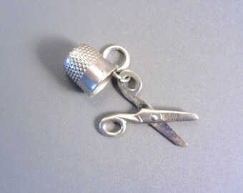 Vintage Sterling Mechanical Scissors Thimble Sewing Charm