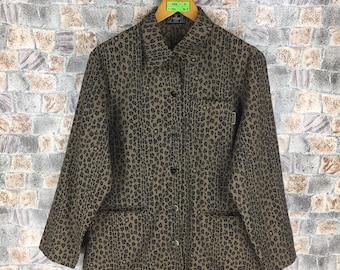 FENDI LEOPARD Jacket Medium Vintage Fendi Zucca Jeans Couture Italy Leopard Cheetah Stripes Fendi Roma Coat Button Jacket Size M