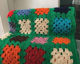 "Green GRANNY Square Crochet Blanket - 70"" X 64"""