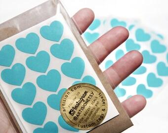 Mini Heart Stickers 90-pk Turquoise
