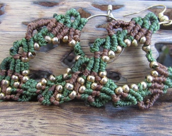 green and brown beaded macrame earrings