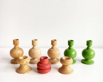 Eight vintage Aarikka Christmas wooden candle sticks  designed by Kaija Aarikka, 1960s, Made in Finland