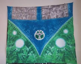 Tie dye tapestry. Peace sign,tree of life. VW van,bus