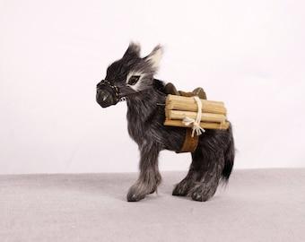 Donkey Figurine, Donkey Gift, Donkey Art, Taxidermy Art, Fur Miniature, Taxidermy Art, Animal Miniature, Donkey Decor, Donkey Statue, Donkey