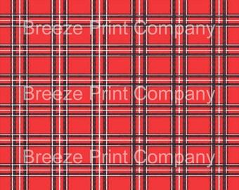 Red, black and white tartan plaid craft vinyl sheet - HTV or Adhesive Vinyl -  Christmas printed pattern vinyl HTV1840