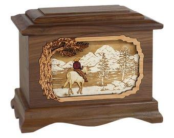 Walnut Cowboy by the River Ambassador Wood Cremation Urn