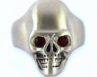 BRUSHED FINISH Skull Ring Black Stone Eyes