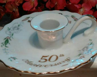 "Lefton Candle Holder Marked ""50th Anniversary"" in Gold with Gold Wedding Bells, Original Sticker - 50th Anniversary Gift -  Free shipping"
