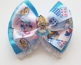 Alice in Wonderland Inspired Bow With Young Alice Center Embellishment