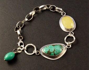 romantic turquoise bracelet, hand made silver chain, real turquoise stone, citrine quartz bracelet