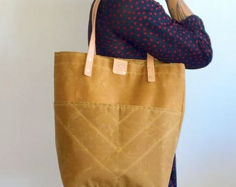 Sophie - Over the shoulder waxed canvas tote FREE SHIPPING