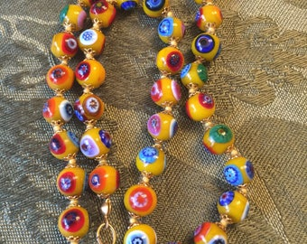 "Italian Millefiori Venetian glass bead necklace Gold Murano glass bead 17"" necklace"