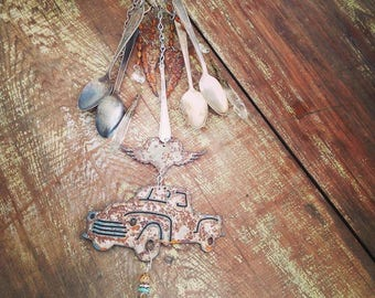 Backroad Dream Rusty Silverware Flatware Wind Chime, Bohemian Hippie Cowgirl Gyspy WindChime