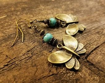 Butterfly Earrings, Bronze Earrings, Drop Earrings, Funky Earrings