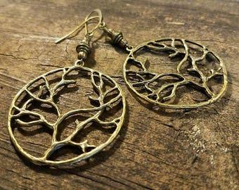 Bronze Earrings, Tree of Life Earrings, Earthy Earrings