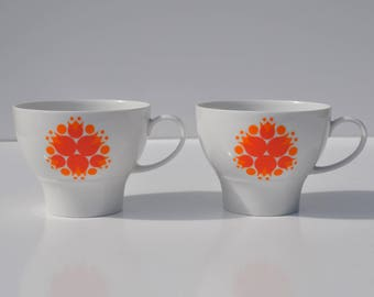 Vintage Cups, Tea Coffee 1960's, Thomas Germany, Rosenthal, Mid Mod Pinwheels, Orange Tulip Flower, Retro MCM Scandinavian Danish Decor