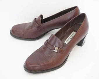 Vintage 90's Etienne Aigner Brown Penny Loafers Heels (Pumps)- Womens Size 9 M