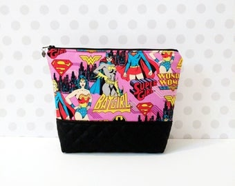 Super Girls Pink Large Makeup Pouch / Wonder Woman / Bat Girl
