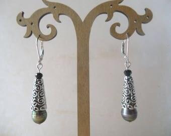 Pearl silver cone earrings