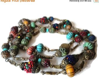 On Sale 1920's Oriental Czech Glass Bead Flapper Necklace Gorgeous