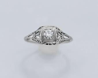 Art Deco .16ct. Diamond Antique Engagement Ring 18K White Gold - J36376