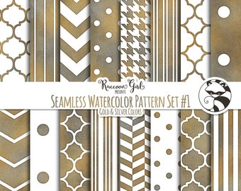 Seamless Watercolor Pattern Set #1 in Grunge Colors Digital Paper Set - Personal & Commercial Use
