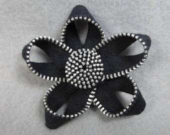 Black Flower Brooch, Zipper Brooch, Black Brooch, Black Pin, Zipper Pin, Zipper Art, Flower Pin, Upcycled, Recycled, Repurposed