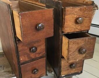 Vintage sewing machine drawers/ 6 wood drawers/ antique farmhouse/ storage/ singer