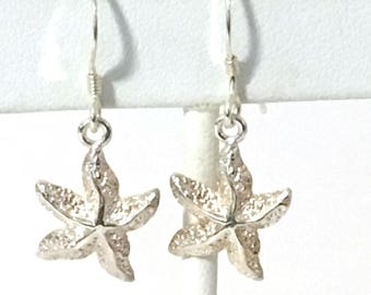 Starfish Pierced Dangle Earrings 925 Sterling Silver gw18-008