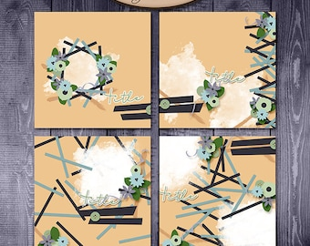 Digital Scrapbooking, Layout Template Set: In Shreds
