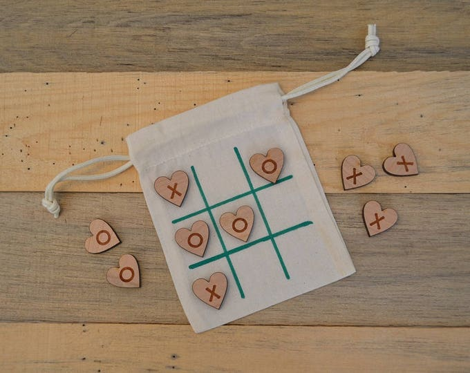 Travel Tic-Tac-Toe Game with customizable engraved wood pieces